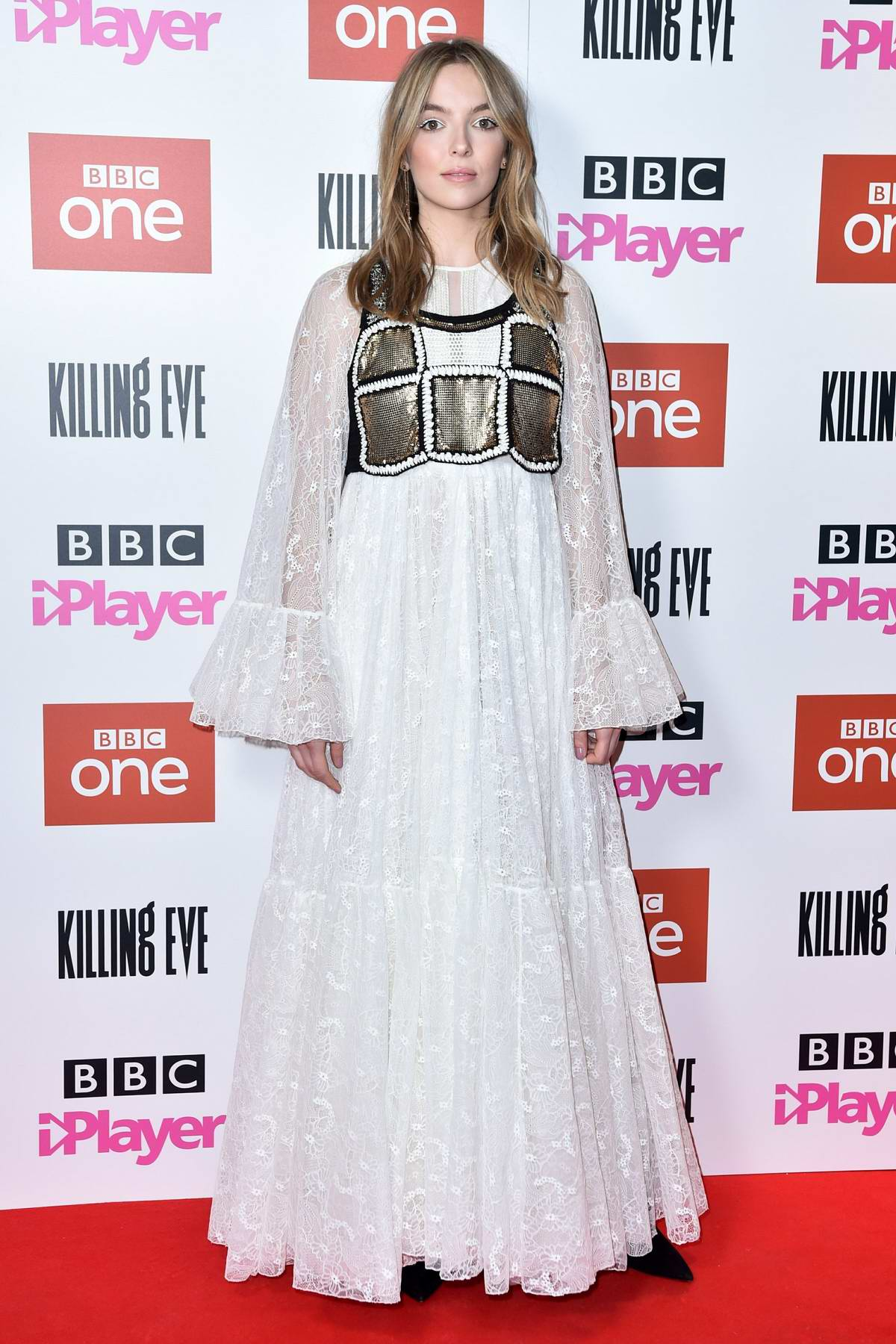 Jodie Comer attends the 'Killing Eve' Series Two premiere at Curzon Soho in London, UK