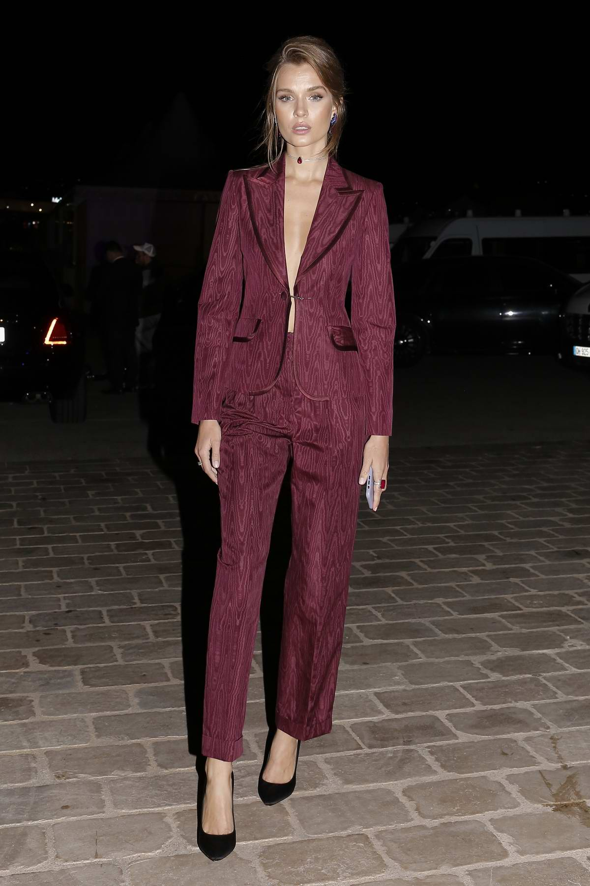 Josephine Skriver attends a private party on a boat during the 72nd Cannes Film Festival in Cannes, France