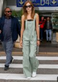 Josephine Skriver looks cool in overalls as she arrives at Nice Airport for the 72nd annual Cannes Film Festival, France
