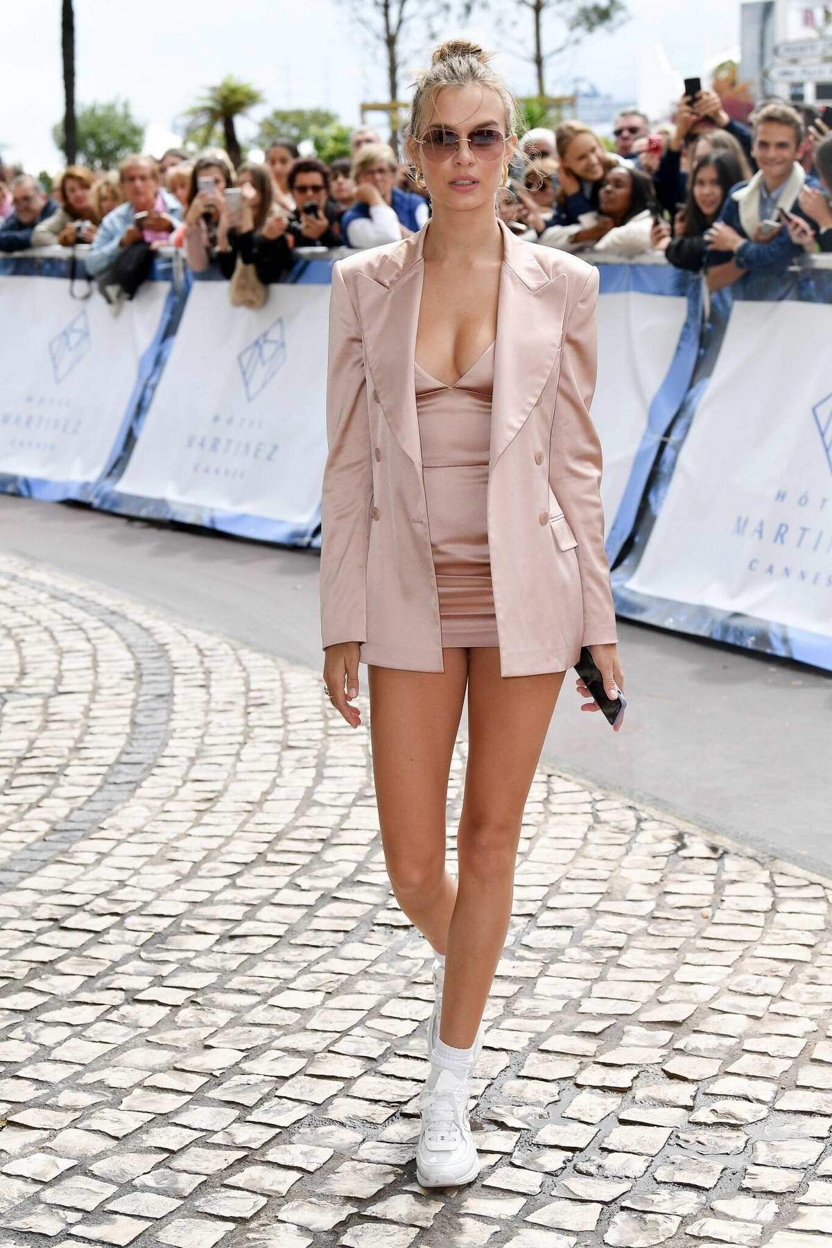 Josephine Skriver looks stunning in pink while out during the 72nd Cannes Film Festival in Cannes, France