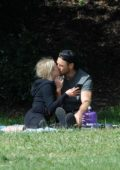 Julianne Hough packs on some PDA with husband Brooks Laich as they enjoy Memorial Day with their dogs at Lake Hollywood Park in Los Angeles