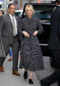 Kaley Cuoco looks pretty in polka dots as she visits 'The Late Show with Stephen Colbert' in New York City