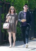 Kate Mara looks lovely in a cute little dress while out for a stroll with husband Jamie Bell in Los Feliz, California