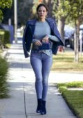 Katharine McPhee wears a cropped top and tight jeans as she leaves the Courthouse with David Foster in Beverly Hills, Los Angeles