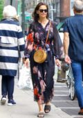 Katie Holmes seen wearing a floral print dress while out in New York City
