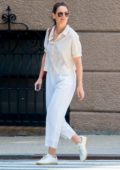 Katie Holmes wore a short sleeve striped top, cropped white linen trousers while out in New York City