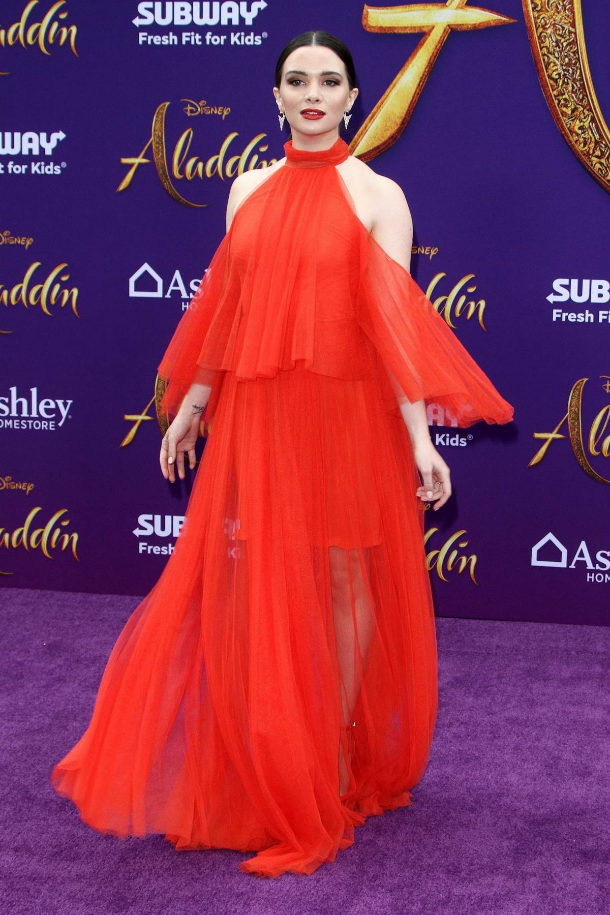 Katie Stevens attends the World Premiere of Disney's 'Aladdin' at the El Capitan Theater in Hollywood, California