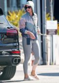 Katy Perry keeps it lowkey with a windbreaker and grey leggings during a shopping trip with Orlando Bloom in Los Angeles