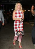 Katy Perry looks lovely in red and white plaid as she heads out for dinner after greeting her fans in New York City