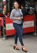Kelly Brook is all smiles arrives for her Heart Radio Show at Global Radio Studios in London, UK