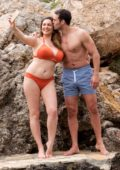 Kelly Brook sizzles in an orange bikini while holidaying with Jeremi Parisi in Mallorca, Spain