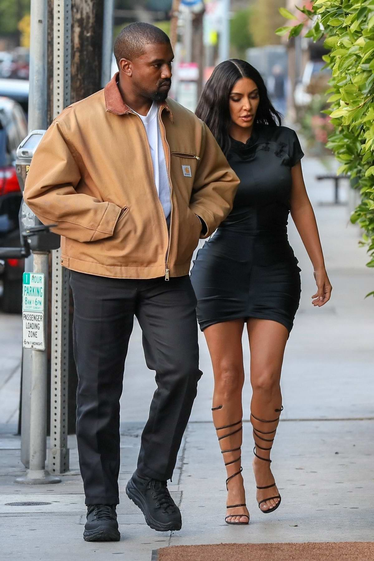 Kim Kardashian rocks form-fitting short black dress while out on a date night with Kanye at Giorgio Baldi in Santa Monica, California