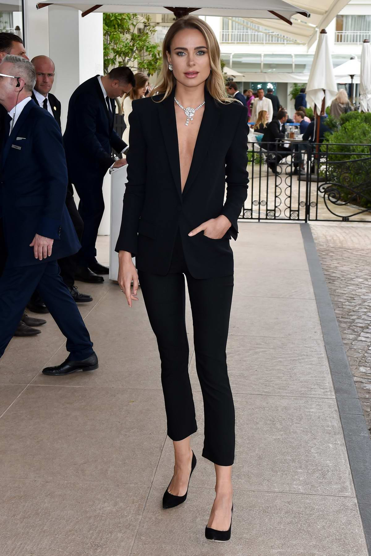 Kimberley Garner looks dapper in a black suit as she steps out during the 72nd Cannes Film Festival in Cannes, France