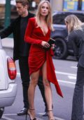 Kimberley Garner looks dazzling in a short red dress as she arrives at Maddox Gallery in Notting Hill, London, UK