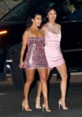 Kourtney Kardashian spotted in a sparkly pink mini-dress as she leaves the launch event of 'Kylie Skin' at Goya Studios in Los Angeles