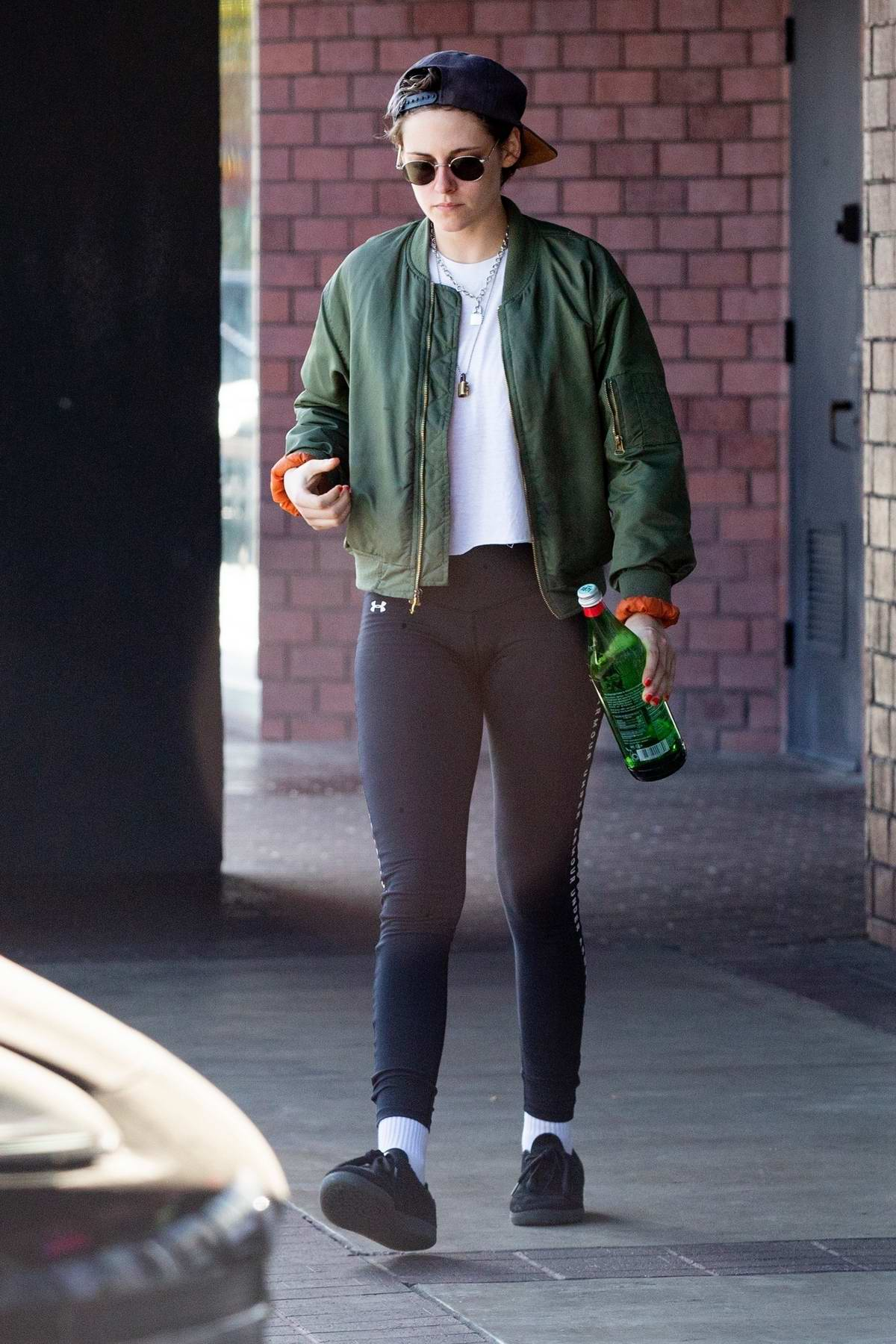 7a9bc4a3e7 kristen stewart sports a green jacket with black under armour leggings as she  leaves a health spa in hollywood, california-300419_7