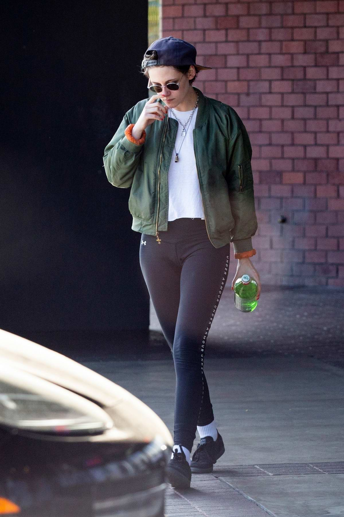 c1e1cc1545 kristen stewart sports a green jacket with black under armour leggings as she  leaves a health spa in hollywood, california-300419_8
