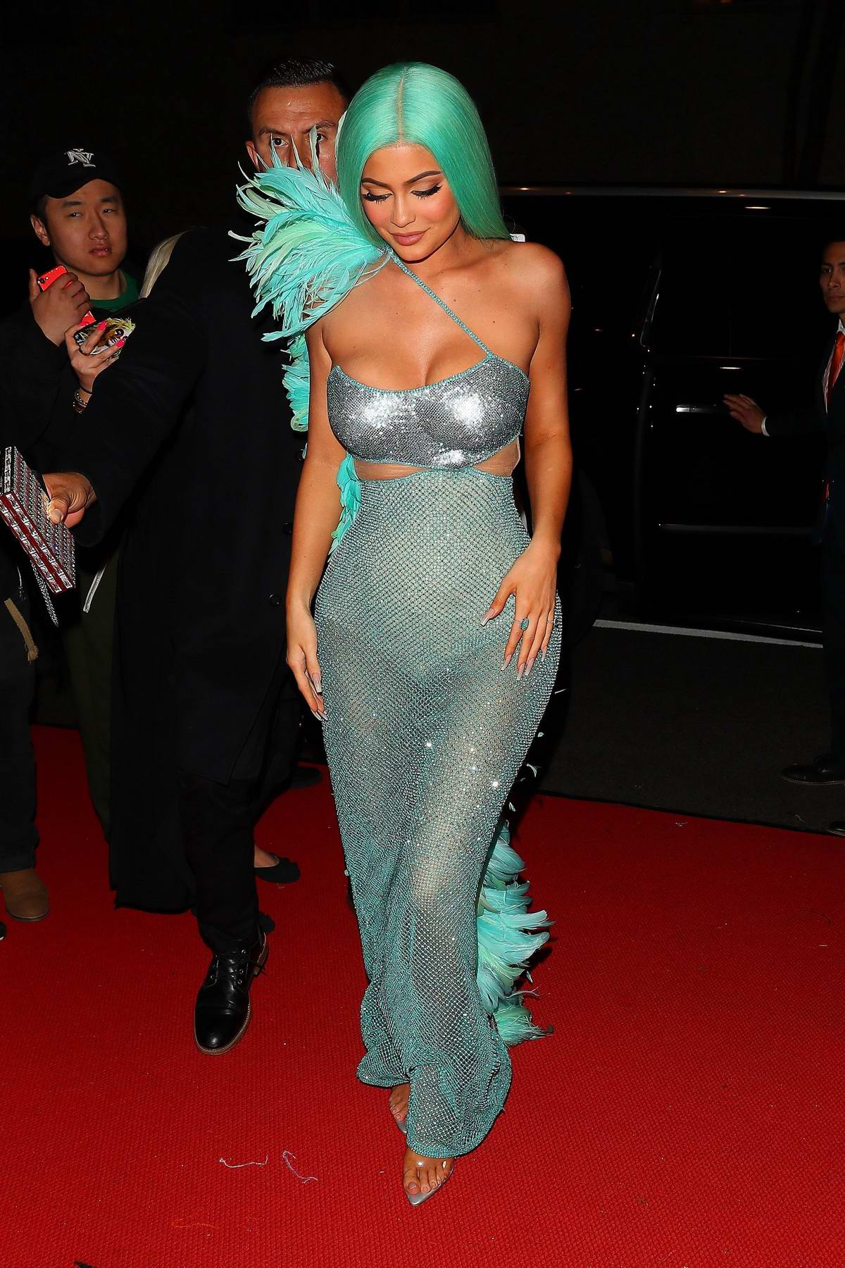 Kylie Jenner dazzles in semi-sheer turquoise dress with matching hair at the 2019 Met Gala after-party in New York City