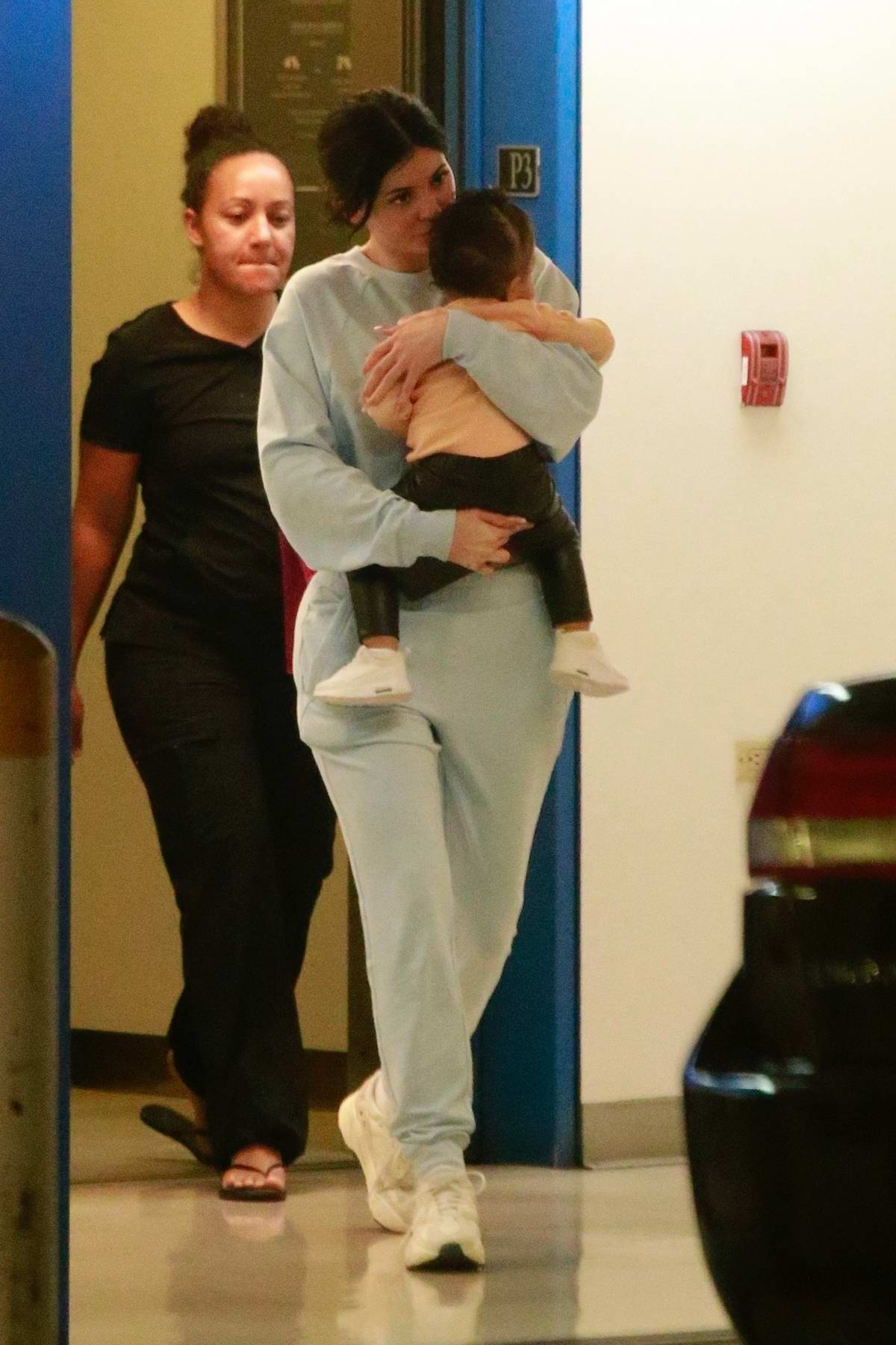 Kylie Jenner finishes a shopping outing with her daughter Stormi at Barneys New York in Beverly Hill, Los Angeles