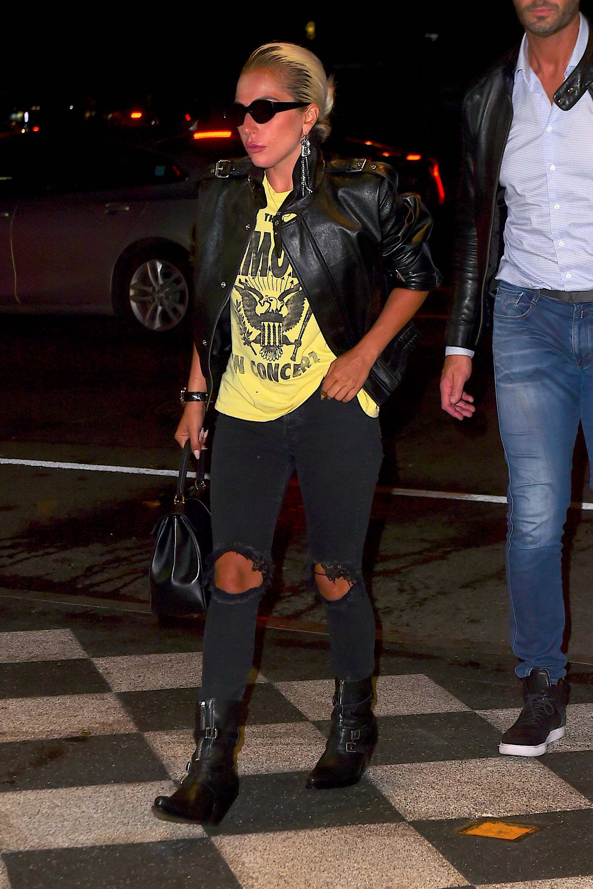 Lady Gaga rocks a vintage tee and leather jacket as she steps out in New York City