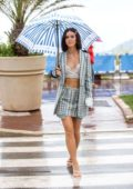 Lena Meyer-Landrut looks amazing in plaid skirt suit while out on the Croisette during 72nd annual Cannes Film Festival in Cannes, France