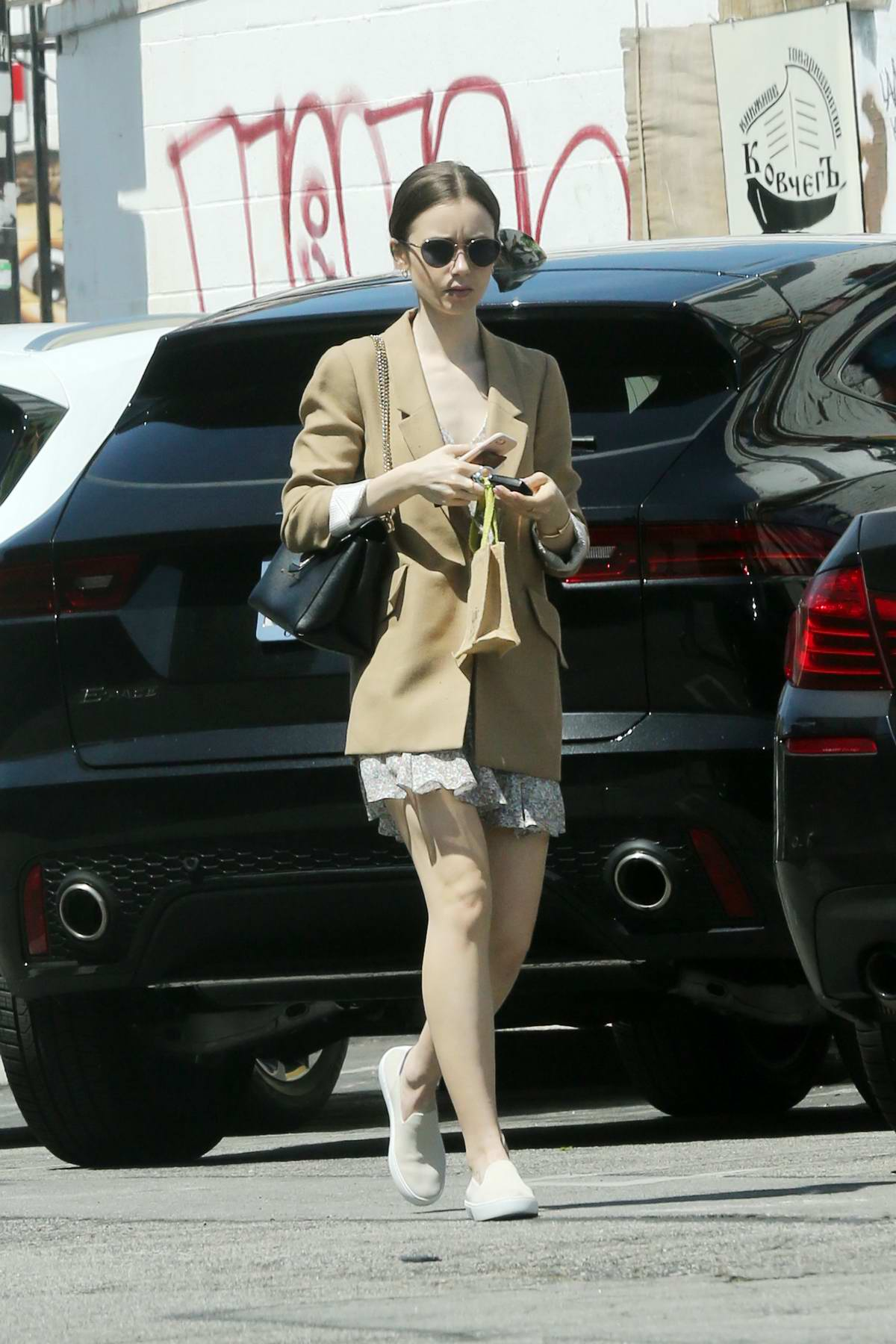Lily Collins seen leaving Mind & Body Acupuncture in Los Angeles