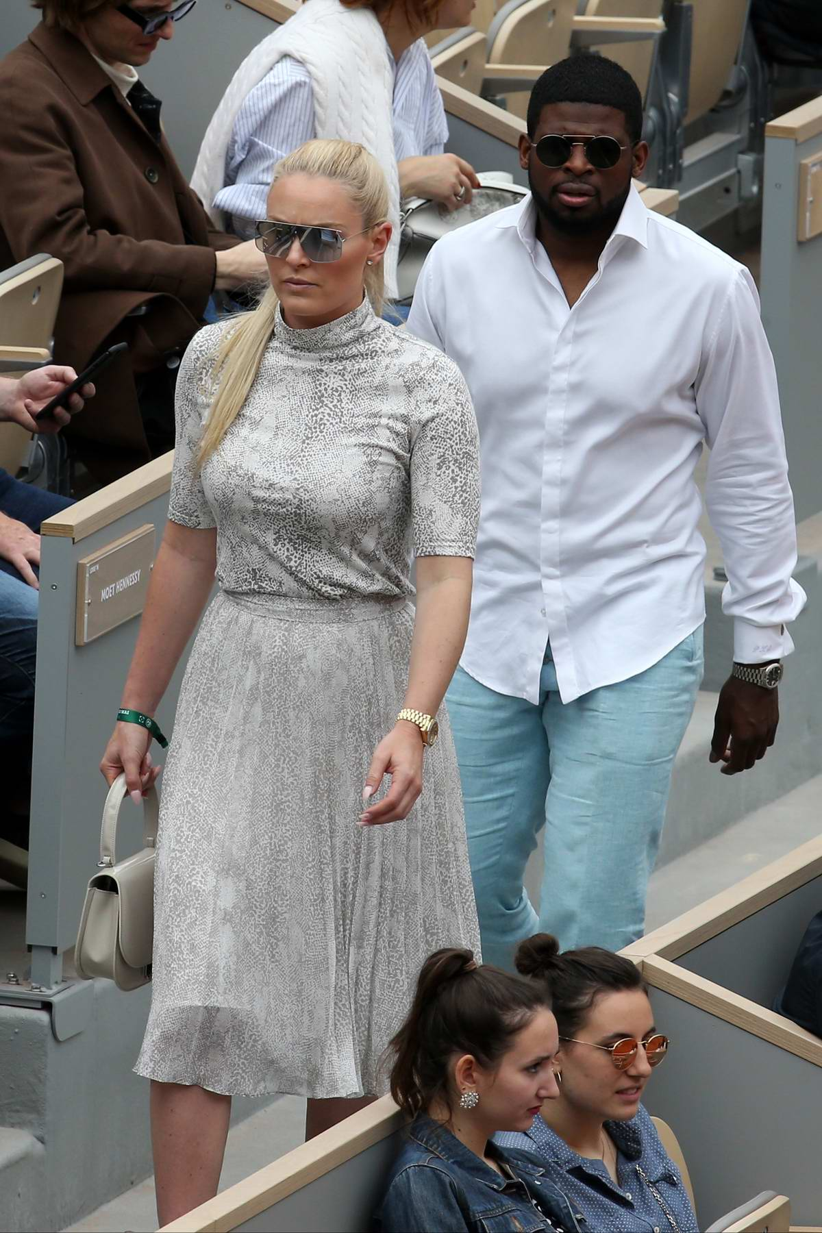 Lindsey Vonn and P.K. Subban attend Serena Williams' match during 2019 French Open, Day 5 at Roland-Garros in Paris, France