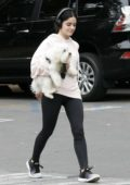 Lucy Hale looks cute in a pink hoodie and black leggings while out for a hike with her dog in Los Angeles