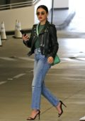 Lucy Hale steps out in a leather jacket and jeans for a shopping outing with a friend at the Beverly Center in Los Angeles