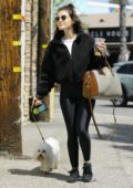 Lucy Hale wears a black teddy jacket and leggings while out for breakfast with friends at Alfred's in Studio City, Los Angeles