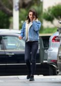 Mila Kunis sports double denim during a trip to the Salon in Los Angeles