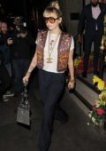 Miley Cyrus looks cool in a colorful vest and Chanel necklace as she leaves Gymkhana restaurant London, UK