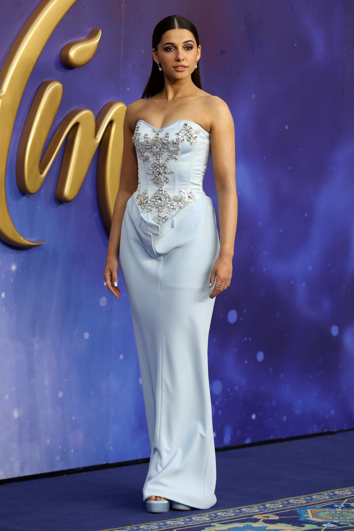 Naomi Scott attends the European Premiere of 'Aladdin' at Leicester Square in London, UK