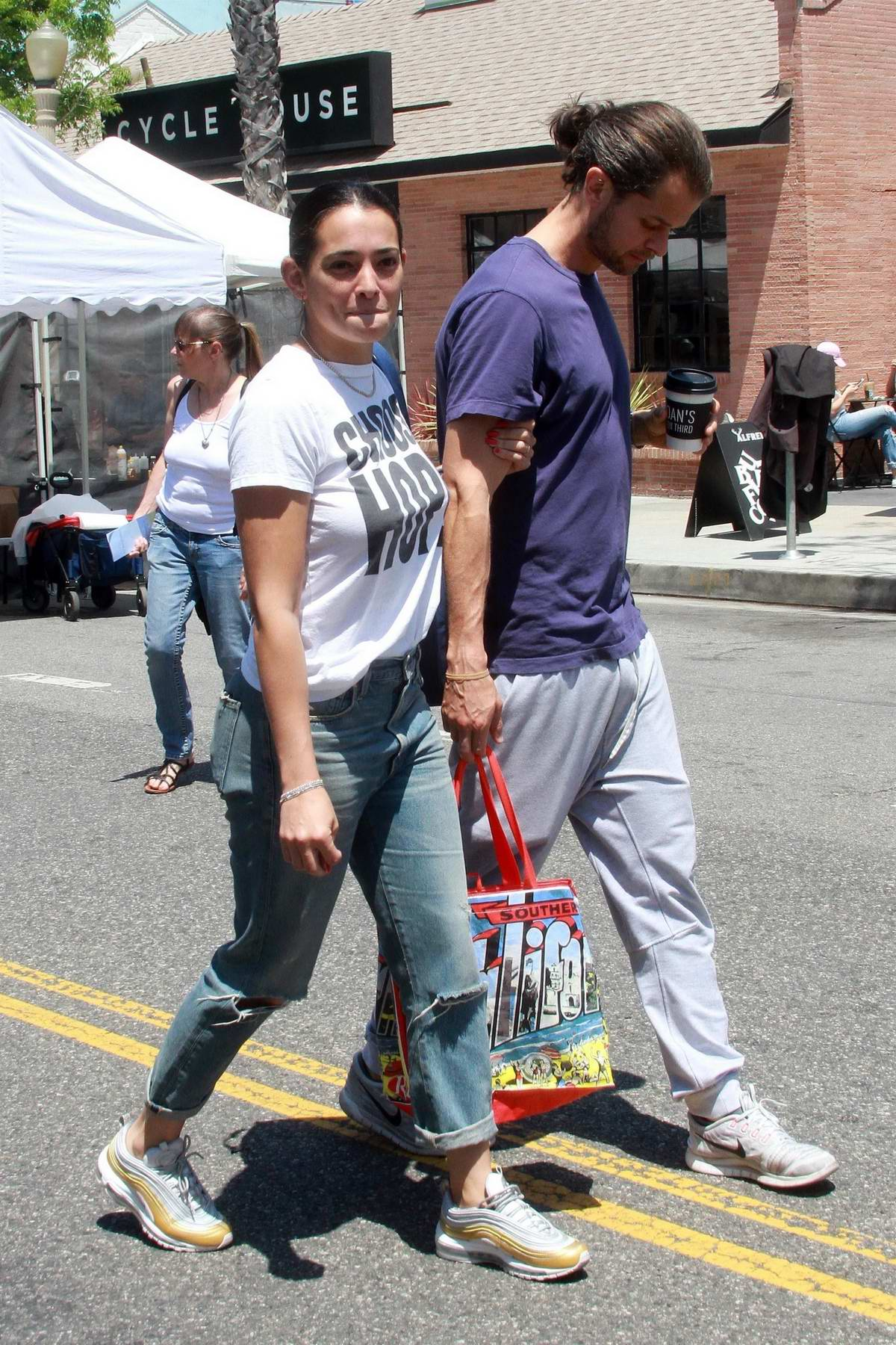 Natalie Martinez shops with her boyfriend at the Farmer's Market in Studio City, Los Angeles