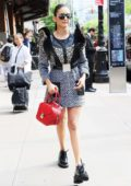 Nina Dobrev shows off her cool style in an animal print dress as she leaves the Greenwich Hotel in New York City