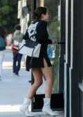 Olivia Culpo gets a lift after lunch at Eveleigh restaurant in West Hollywood, Los Angeles