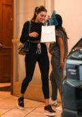 Olivia Culpo looks trendy in all an black ensemble as she leaves a Dermatology Clinic in Los Angeles