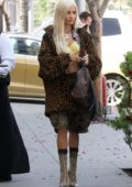 Pia Mia rocks an animal print jacket and Camo shorts as she leaves after lunch at Wally's in Beverly Hills, Los Angeles