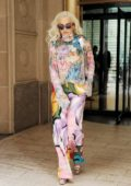 Rita Ora looks vibrant in a colorful ensemble while heading out in New York City