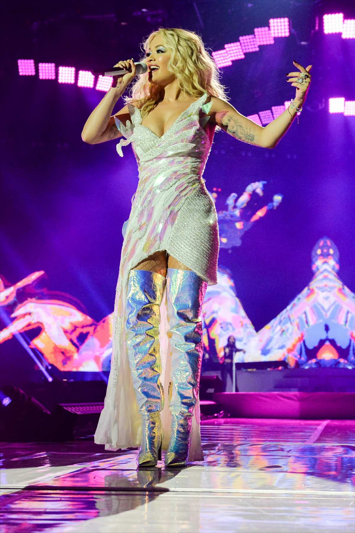 Rita Ora performs onstage at the Motorpoint Arena in Cardiff, Wales