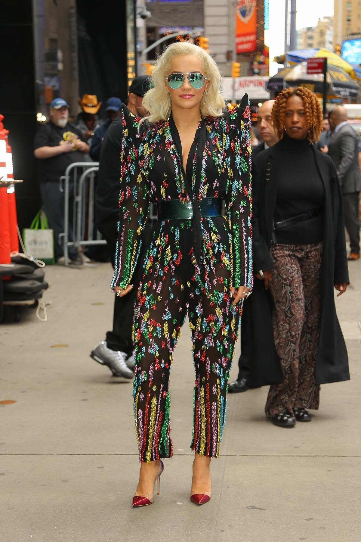 Rita Ora sports a jazzy jumpsuit while visiting Good Morning America in New York City