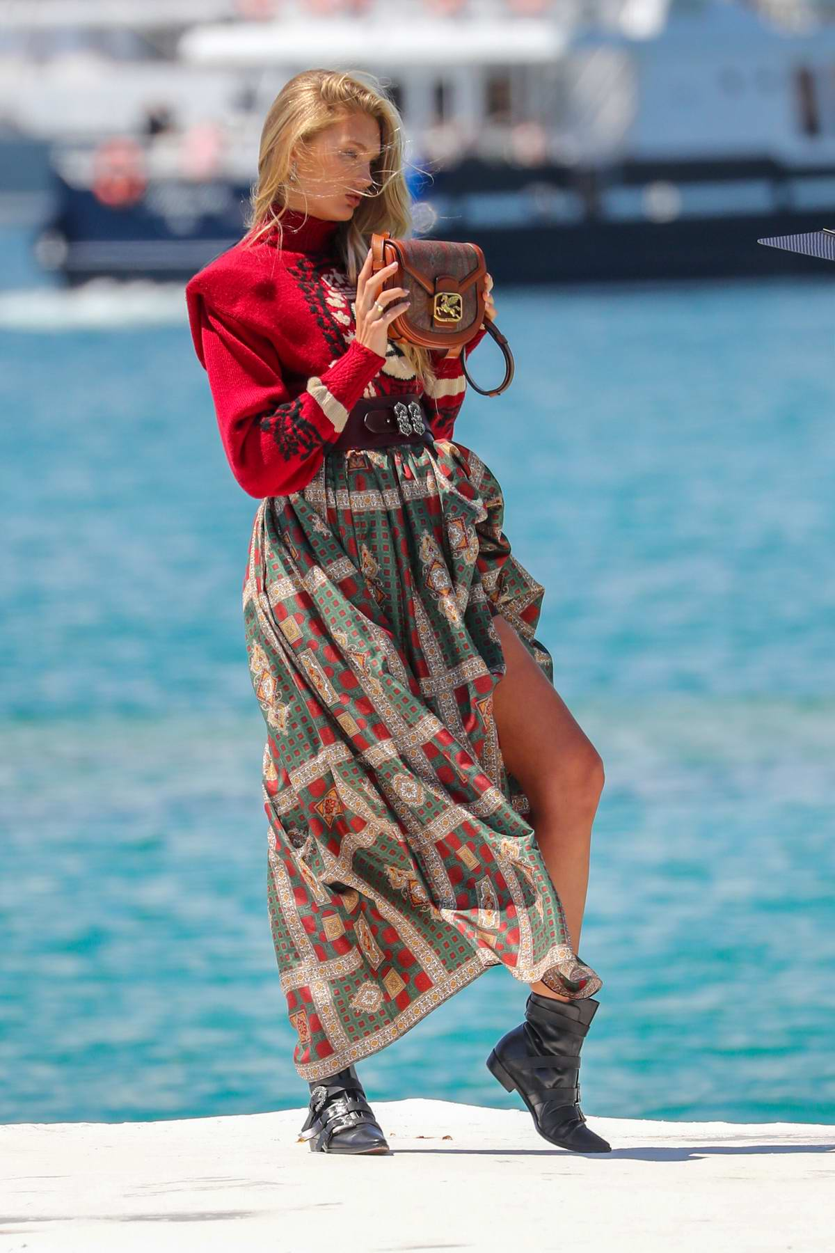 Romee Strijd spotted on set of a photoshoot on the Croisette during the 72nd annual Cannes Film Festival in Cannes, France