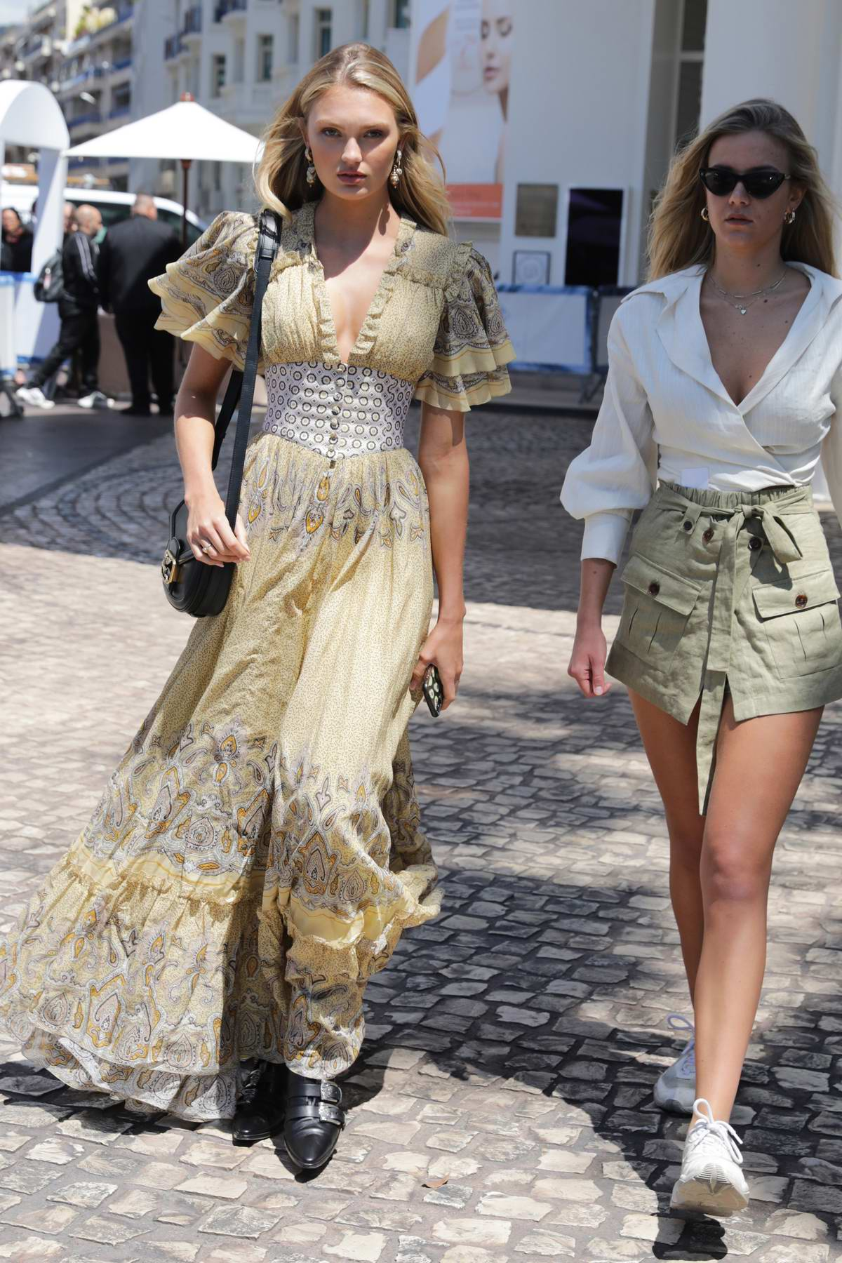 Romee Strijd wears flowing long dress while out during 72nd Cannes annual Film Festival in Cannes, France
