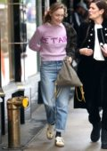 Saoirse Ronan looks pretty in a pink sweater and Gucci sneakers as she leaves The Mark Hotel in New York City