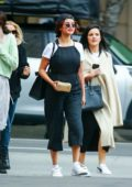 Selena Gomez grabs lunch with friends at Tortino's in Los Angeles