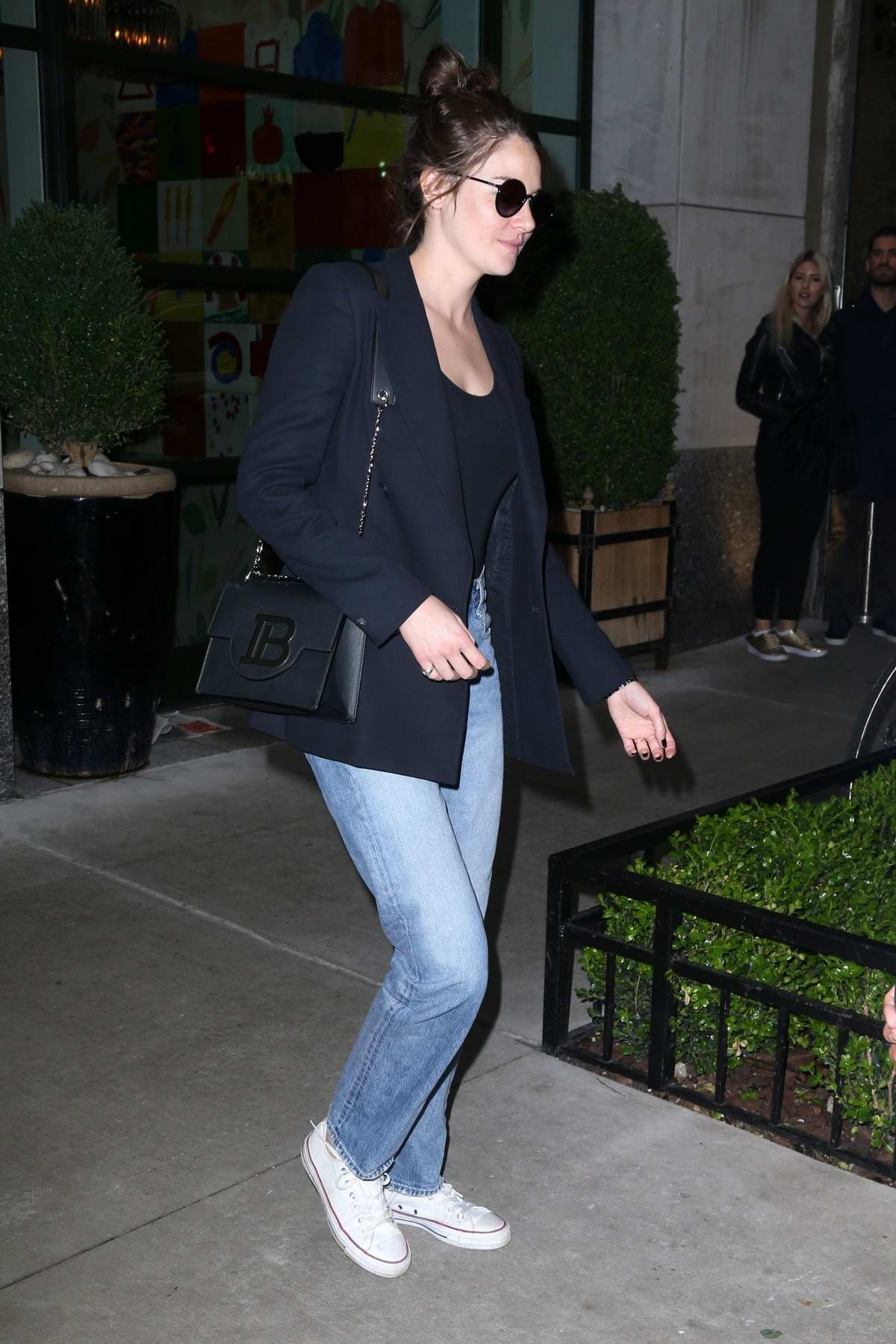 Shailene Woodley steps out in a blue blazer and matching denim in New York City