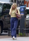 Sienna Miller chats on her phone while out for a fresh juice at Clover Grocery in the West Village, New York City