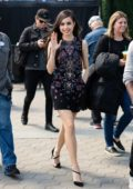 Sofia Carson looks cute in a black dress while making an appearance on 'EXTRA' at Universal Studios in Universal City, California