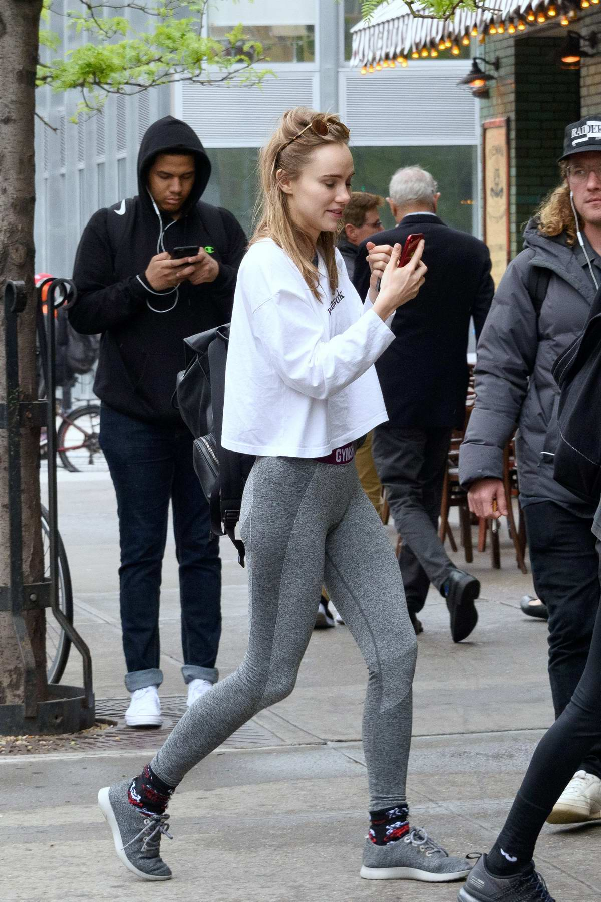 9a010e7db6a52 suki waterhouse sports white top and grey leggings as she leaves after a workout  session in new york city-030519_6