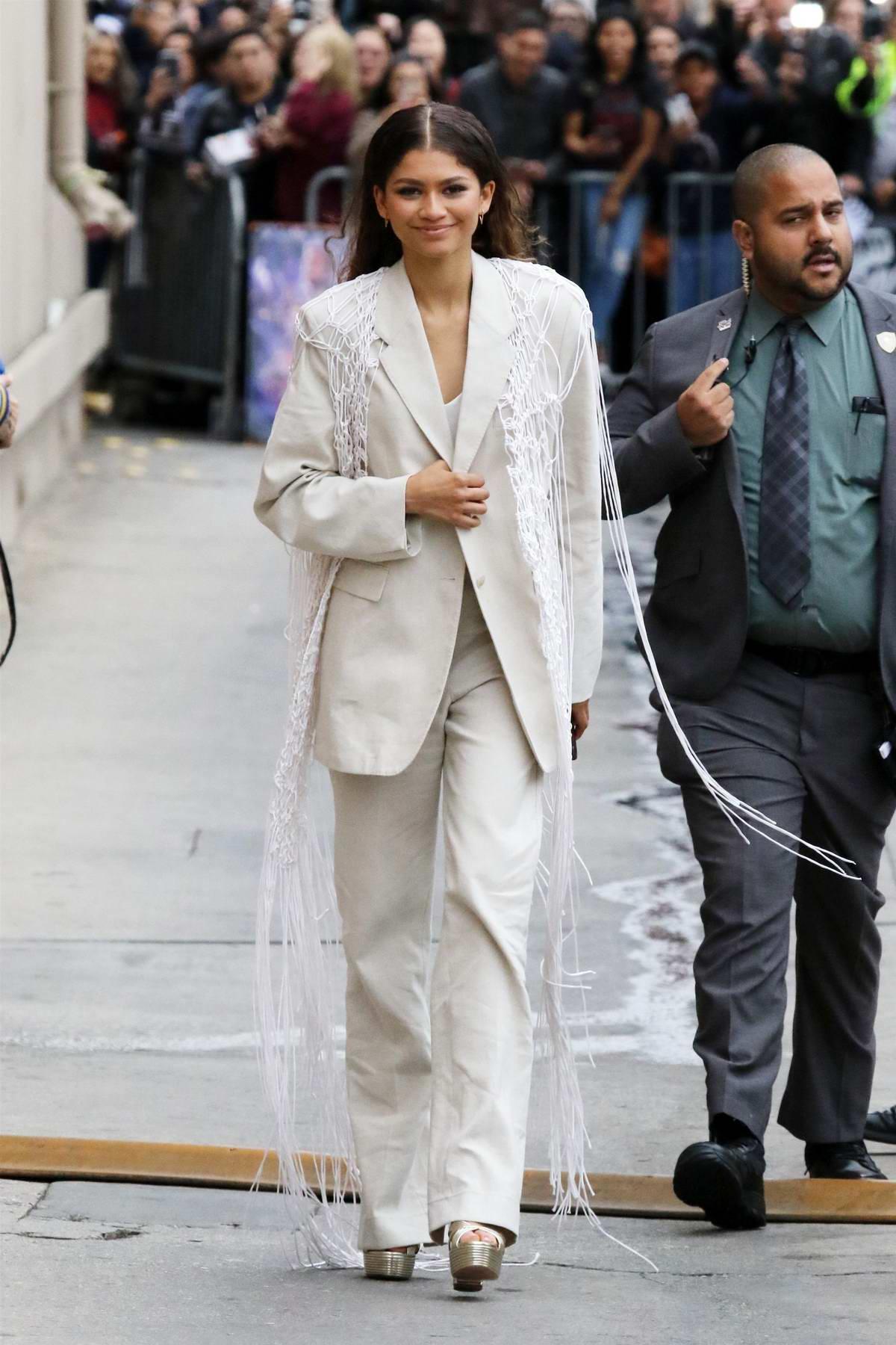 Zendaya greet fans as she leaves Jimmy Kimmel Live! in Hollywood, Los Angeles